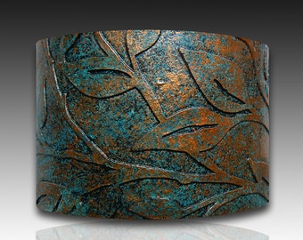 Leaves bronze and patina polymer clay cuff bracelet