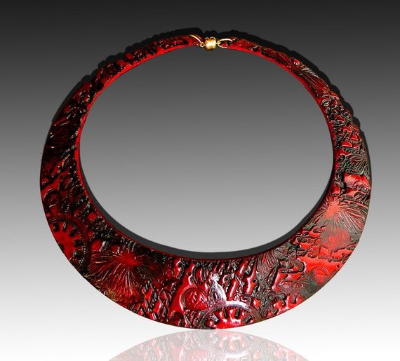 Bold red and black polymer clay signature bib neklace