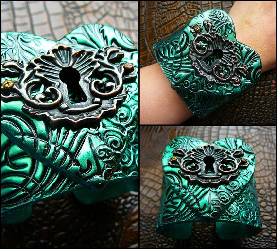The key to my heart polymer clay cuff