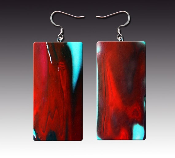 One-of-a-kind black, red, and blue polymer clay earrings