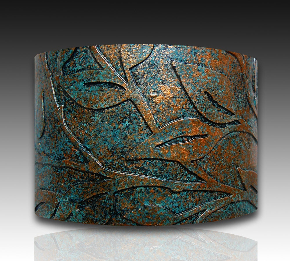 leaves bronze and patina polymer clay cuff bracelet. Black Bedroom Furniture Sets. Home Design Ideas