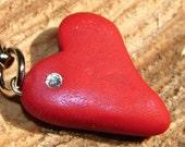 CUSTOMIZABLE Polymer Clay HEART KEYCHAIN with Swarovski Flat Back Crystal