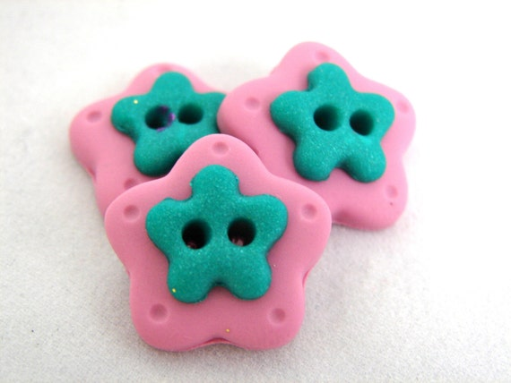 Pink FLOWER Polymer Clay BUTTONS - Set of 3 - Light Pink & Metallic Green