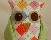 OWL, Home Decor, Bookend, Quilt Fabric and Wool Applique, Argyle Plaid, Green