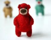 Bright red bear, brooch 12