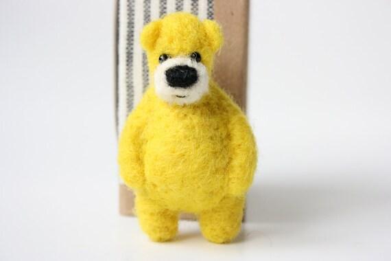 Bright yellow bear, brooch 96