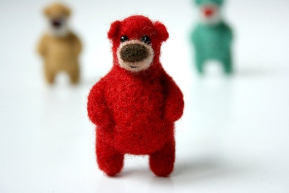 Bright red bear, brooch 12