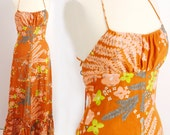 Vintage 1970s Orange Luau PARADISE Halter Hawaiian Maxi Dress (XS/S)