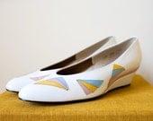Vintage 1970s SHERBERT White Leather Wedge Heels Sz 7-8
