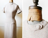 Vintage 1950s JOAN HOLLOWAY Neutral Woven Day Dress XS/S