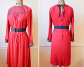 Vintage 1970s ALPINE Flowers Red Knit Dress l/xl