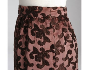 Vintage 1960s Fleur de Lis GRAPE Skirt (S)