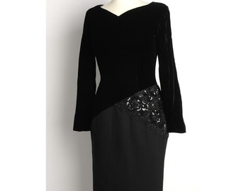 Vintage 1980s BILL BLASS Velvet Sequined Lace Dress (S)