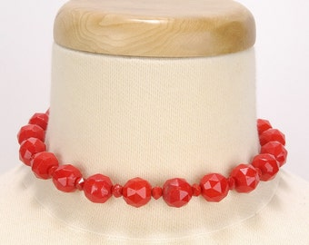 Vintage 1980s Petite LIPSTICK Red Faceted Beads Necklace