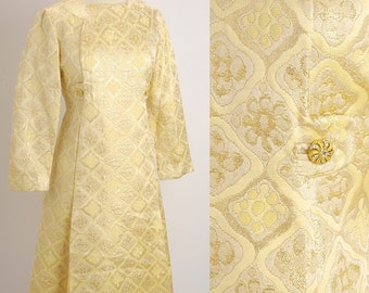 Vintage 1950s Gold REINA Brocade Rhinestones Dress M/L