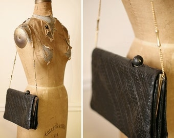 Vintage 1950s SUNSET STRIP Black Snakeskin Purse