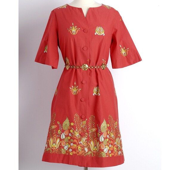 Vintage 1960s Alfred SHAHEEN Hawaiian Botanical Dress M/L
