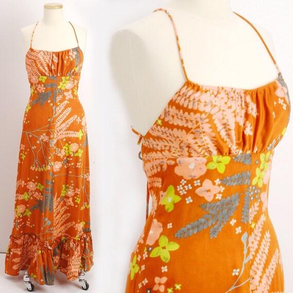 Vintage 1970s Orange Luau PARADISE Halter Hawaiian Maxi Dress (XS/S)