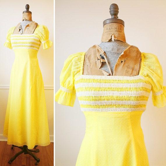 Vintage 1960s FIESTA Del SOL Yellow Polkadot Maxi Dress xxs/xs