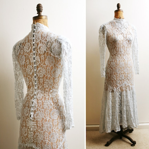 Vintage 1980s SILVER Gray Lace See Through Edwardian Dress s/m