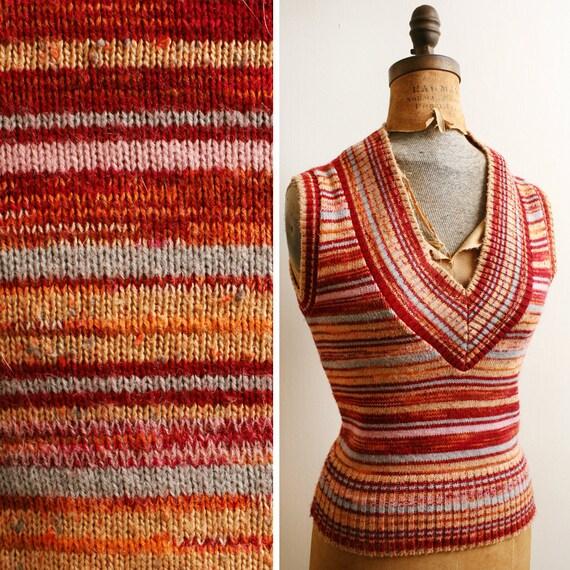 Vintage 1970s Sunset STRIPES Knit Sweater Vest Jumper xxs/xs