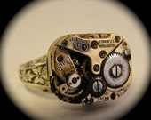 Dainty Watch Ring Steampunk Upper Crust Collection Adjustable Sterling Silver ladies ring NO GLUE  Hard Soldered made in NYC