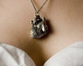 Anatomical heart pendant antiqued silver finish original design  jewelry made here in NYC 36 inch chain option