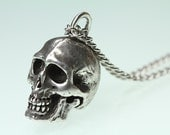 Small Silver Human Skull Necklace (antique finish chain you choice of lengths)  Made in NYC