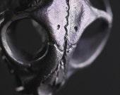 Small Cat Skull Necklace Dark Black Bronze Wildcat Skull on choice of chains