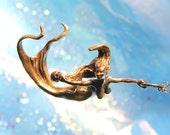 Mermaid Pendant original carving cast in reclaimed bronze no chain
