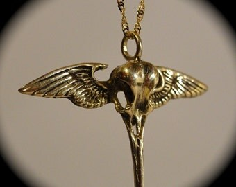 14k Solid Gold Hummingbird Skull with wings on a solid gold chain made in NYC  Blue Bayer Design Exclusive
