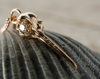 Diamond eyes 18k Solid  Rose Gold Hummingbird Skull Elegantly cast and hand finished here in NYC