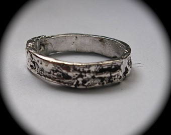 Silver Tree Bark Ring sizes 4 to 11 made to order