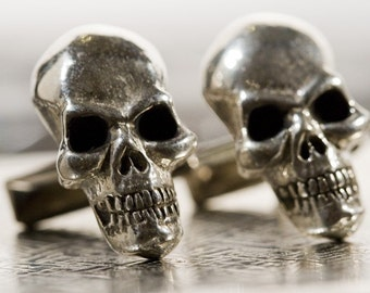 Sterling Silver Skull Cuff Links Original Carving  made in NYC