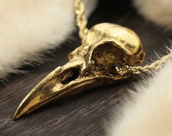 "Gold-Plated Crow Skull Necklace  life sized (24"" retro rope chain) Made in NYC"