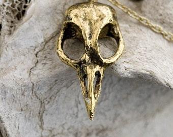 Bird Skull Necklace Bellatrix  18k gold plated made in NYC