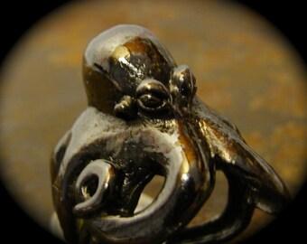 Octopus Ring Jet Black Gun Metal Plate Self Adjustable sizes 7 to 11