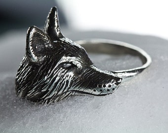 Silver Fox Ring in Sterling Sizes 3.5 to 11 Original Carving  made in NYC