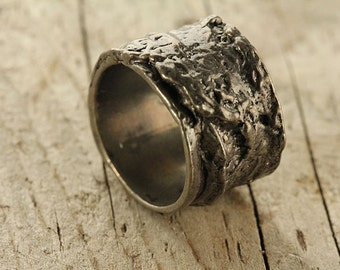 Tree Bark Ring Black Silver Sterling SZ  8 to 12