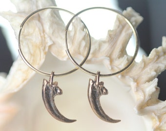 Falcon Talon Hoop Earrings (oxidized bronze on gold filled hoops) Blue Bayer Design NYC