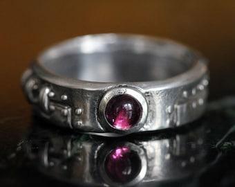 diamond steampunk industrial ring stering silver pink tourmaline set
