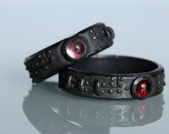 Steampunk wedding set Black Sterling Silver diamond red garnet pink tourmaline settings