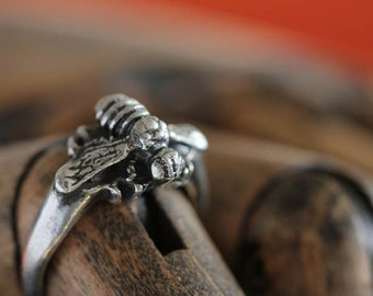 silver honey bee ring made in NYC .925 silver