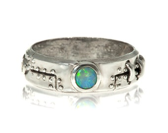 Diamond Steampunk Industrial Ring Stering Silver opal  Set