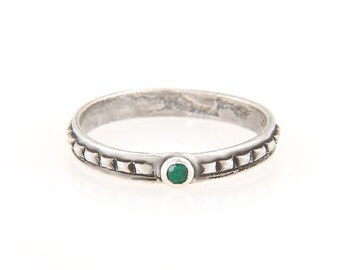 sterling silver 2mm faceted emerald pyramid ring made in NYC