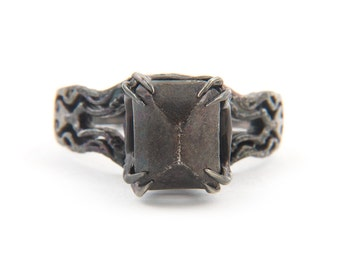 Kathula blackend silver gem ring made in NYC