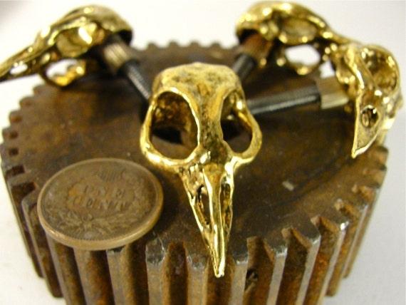 Gold Bird Skull Drawer Pull Skull  Cabinet Knob Bird Skull Cabinet hardware  cast metal. Made in NYC Billyblue22