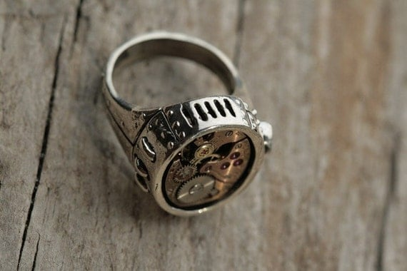Solid Silver Watch Part Ring sizes 4 through 11  Steampunk Upper Rust Collection Aug 2010 Release