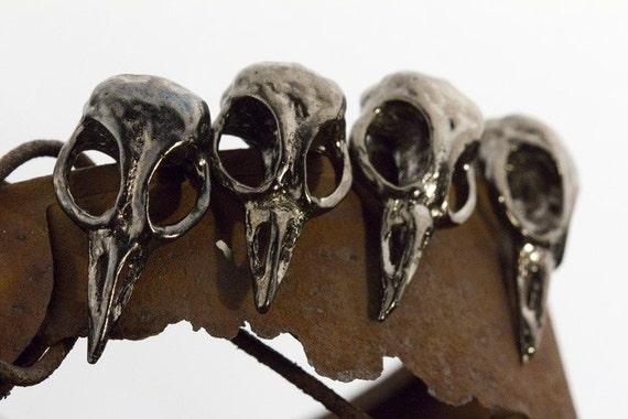 Bellatrix Bird Skull Cabinet/Drawer Hardware (Jet Black Gun-Metal) Made in NYC, quantity listing