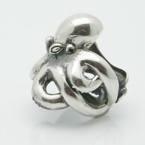 silver octopus tenacle twirl ring 925 sterling by billyblue22